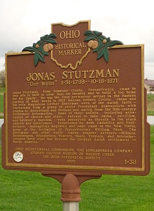 Walnut Creek Township, Holmes County, Ohio - This marker commemorates the first white settler in this township.