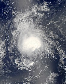 Satellite imagery of a poorly defined tropical storm in the central Atlantic