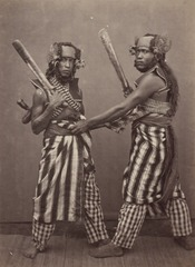 KITLV 115028 - Isidore van Kinsbergen - Bald Head Dancers (baris demang) of Boeleleng at Singaraja - 1865-1866.tif