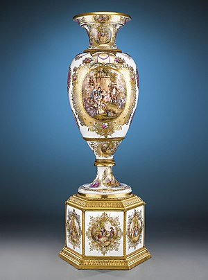 Royal Porcelain Factory, Berlin - KPM Rococo-inspired porcelain vase and plinth