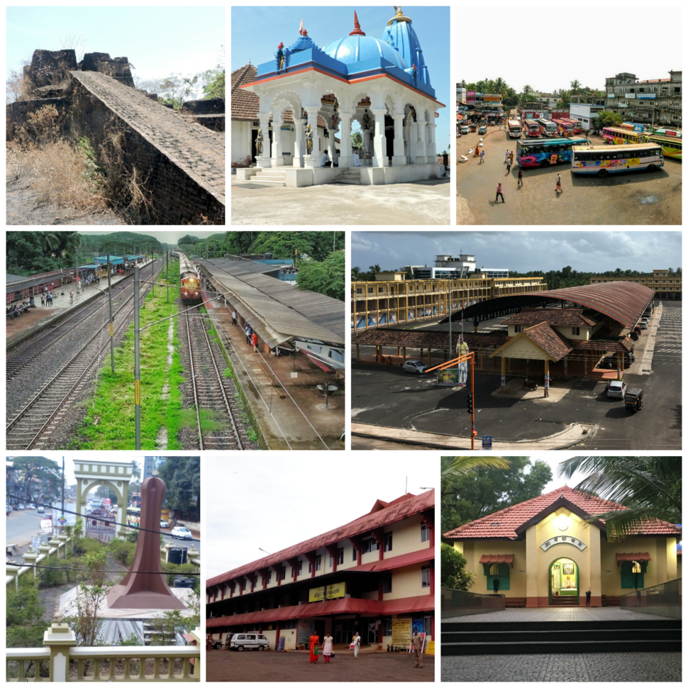 Left to right: Hosdurg Fort, Nityananda Ashram, Old Bus Stand, Railway Station, New Bus Stand, Gandhi Smriti Mandapam, Government District Hospital, Anandashram