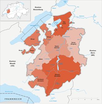 Karte Kanton Freiburg Bezirke 2010