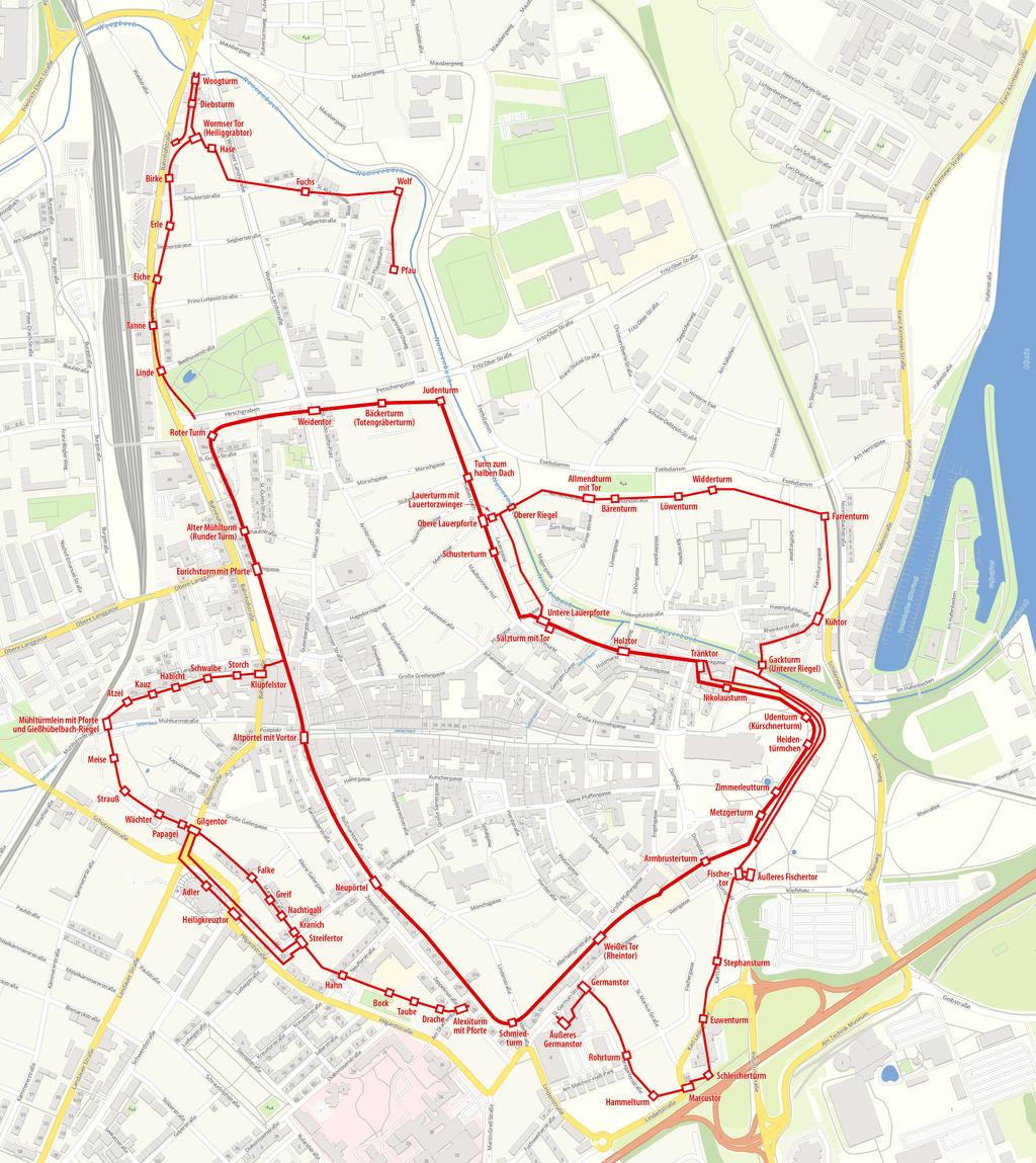 Karte Stadtbefestigung Speyer