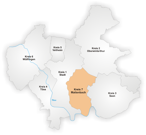 Mattenbach - Image: Karte Winterthur Stadtkreis 7