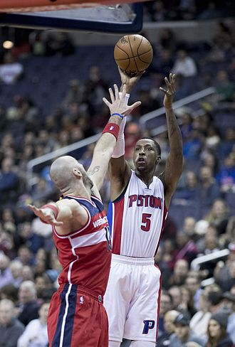 Kentavious Caldwell-Pope - Caldwell-Pope with the Pistons in December 2016, shooting over Marcin Gortat of the Washington Wizards