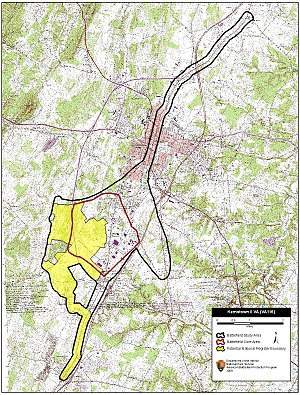 Second Battle of Kernstown - Map of Kernstown II Battlefield core and study areas by the American Battlefield Protection Program.