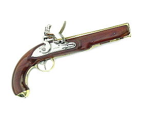 Flintlock - Ketland brass barrel smooth bore pistol common in Colonial America.