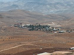 View on the settlement of Kfar Eldad, the settlement Maale Rehav'am in on the left, in the background.