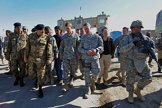 Wesh–Chaman border crossing - U.S. Army Gen. Stanley McChrystal, commander of the International Security Assistance Force at the time, is meeting with Pakistani army Lt. Gen. Khalid Wynne, commander of Southern Command, at the Friendship Gate border crossing, in Spin Boldak, Afghanistan.