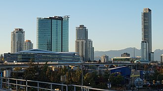 Skyline of Surrey, British Columbia's second largest city and suburb of Vancouver King George Hub District, Surrey 2018.jpg