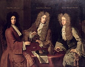 Lord Berkeley (à droite), en compagnie de Evelyn Pierrepont, 1er Duc de Kingston-upon-Hull et Charles Boyle, 2ème comte de Burlington dans un portrait par Godfrey Kneller.