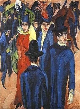 """Ernst Ludwig Kirchner, """"Scène de rue à Berlin"""", 1913, huile sur toile, 121 x 95 cm, Neue Galerie, New York"""
