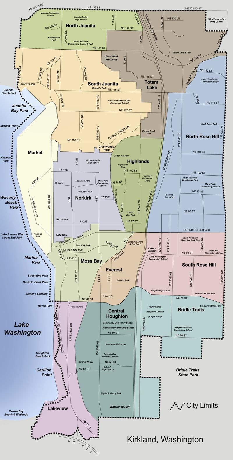 Kirkland, Washington neighborhood map.png