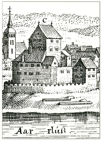 Klingnau Castle - Drawing of the castle from about 1642