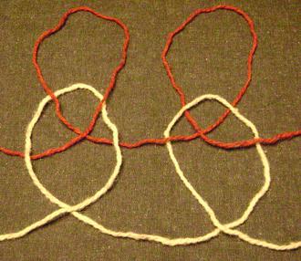 Plaited stitch (knitting) - Large-scale illustration of plaited stitches in knitting