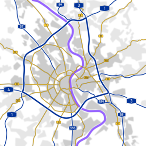 Transport in Cologne - Cologne Beltway (blue) and principal roads through and around Cologne.