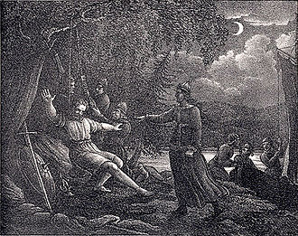Agne - Agne being hanged by his wife Skjalf. Artwork by Hugo Hamilton, 1830