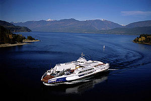 Kootenay Lake - One of the ferries operating on Kootenay Lake; The Osprey.