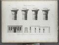 Koum Omboû (Ombos). 1-4. Chapiteaux du Grand Temple; 5-7. Plan, élévation et coupe du Petit Temple (NYPL b14212718-1267871).tiff