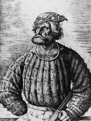 Klaus Störtebeker - Portrait (Etching) of Kunz von der Rosen the court jester of emperor Maximilian I by Daniel Hopfer, which is often erroneously identified as a portrait of Klaus Störtebeker