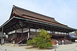 The Shishinden is a majestic building in the Kyoto Imperial Palace.