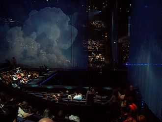 Love (Cirque du Soleil) - The Love stage moments before start of show; two of the scrims can be seen.