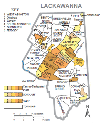 Political map of Lackawanna County, Pennsylvania, with townships, boroughs, cities and census-designated places labeled. Townships are colored white and boroughs, cities, and CDPs are colored various shades of orange.
