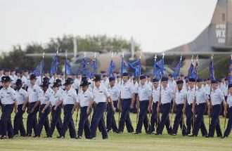 Lackland Air Force Base - Military Training Instructors and trainees participating in the Basic Military Training graduation parade.