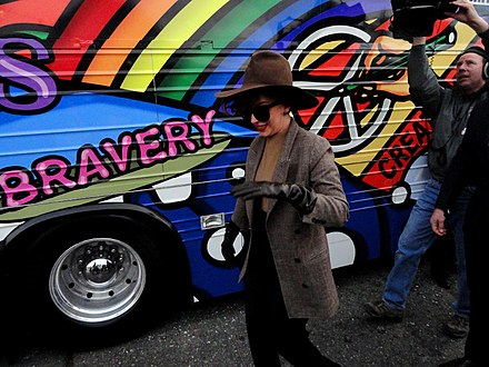 Gaga during an event for the Born This Way Foundation in Europe, 2013 LadyGagaBornBraveBus.jpg
