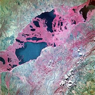 Upemba Depression - Image: Lake Upemba STS057 104 62