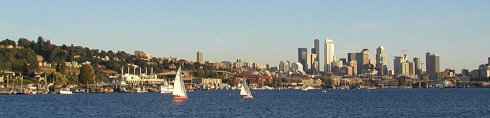 The view of Downtown Seattle from Lake Union