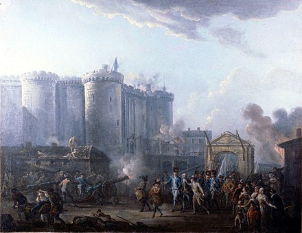 The storming of the Bastille on 14 July 1789, by Jean-Baptiste Lallemand, (Musee de la Revolution francaise) Lallemand - Arrestation du gouverneur de la Bastille - 1790.jpg
