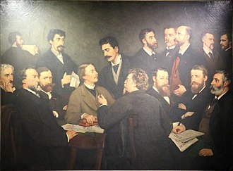Société Libre des Beaux-Arts - The Members of the Société Libre des Beaux-Arts by Edmond Lambrichs : from left to right, sitting are Huberti, Boudin, Degroux, Van Camp, Bouré, Verwée, C. Meunier, Dubois (holding copies of L'Art libre and  L'Art Universel); standing, Lambrichs, Artan, Rops, Raeymaeckers, J.B. Meunier, Smits, Baron, De la Charlerie