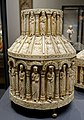 Large tower reliquary, view 1, Köln, 1175-1200 AD, bone, wood, copper, bronze, brown varnish - Hessisches Landesmuseum Darmstadt - Darmstadt, Germany - DSC00346.jpg