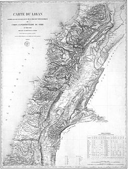 1862 map drawn by the French expedition of Beaufort d'Hautpoul, later used as a template for the 1920 borders of Greater Lebanon. Lebanon as envisaged by French General Charles-Marie-Napoleon de Beaufort d'Hautpoul Beaufort d'Hautpoul in 1862.jpg