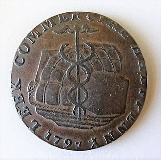 Leek, Staffordshire - 1793 Leek commercial token half-penny.
