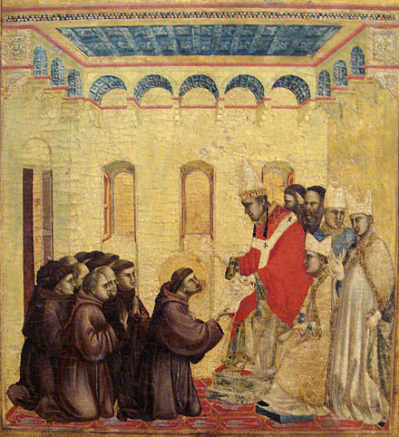 Pope Innocent III approving the statutes of the Order of the Franciscans, by Giotto, 1295-1300 Legend of St. Francis by Giotto.jpg