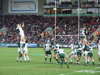 London Irish - London Irish's line out against Leicester Tigers.
