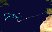 A track map of Hurricane Leslie