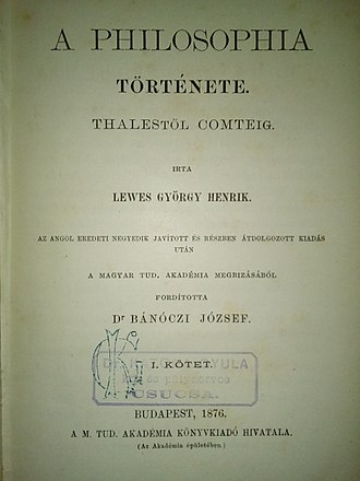 History of Philosophy (Hungarian edition, 1876) Lewes.Gyorgy.jpg