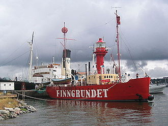 Lightvessel - Lightship Finngrundet, now a museum ship in Stockholm. The day markers can be seen on the masts.