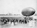 Lincoln Beachy and his dirigible on the Aeronautic Concourse at the Lewis and Clark Exposition, Portland, Oregon, 1905 (AL+CA 1873).jpg