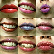Lips with various shades of lipstick applied.
