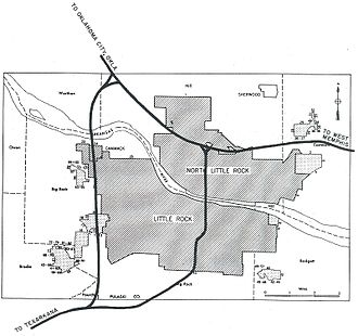 Interstate 430 - 1955 plan for I-430 and other Little Rock freeways