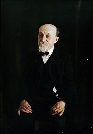 Louis Arthur Ducos du Hauron - Louis Ducos du Hauron, photographed on an Autochrome plate in 1910. The Lumière Brothers' Autochrome process was based on one of the several color photography methods he patented in 1868.