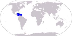 World map depicting Caribbean: blue = Caribbean Sea