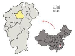 Location of Nanchang City jurisdiction in Jiangxi