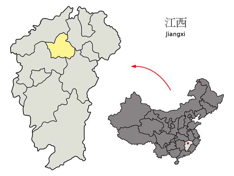 Location of Nanchang City jurisdiction in Jiangxi