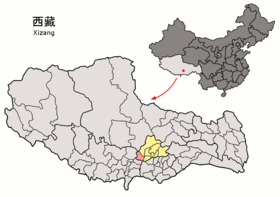 Location of Nyêmo within Xizang (China).png