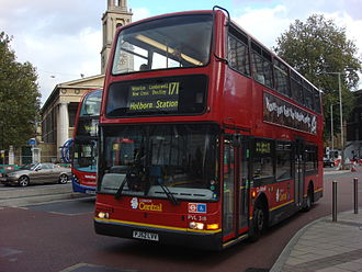 London Buses route 171 - London Central Plaxton President bodied Volvo B7TL in October 2008